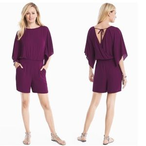 White House Black Market Purple Kimono Romper sz 6